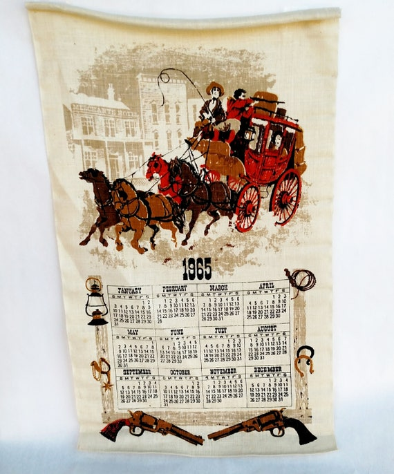 Vintage 1965 Linen Tea Towel Calendar with Western Wagon Scene