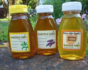 Raw Honey Sampler - Spring, Lavender Infused, and Lemon Verbena Infused Honey -three 8 ounce bottles