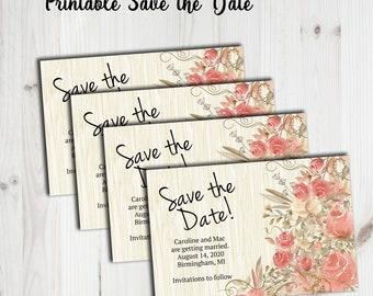Save the date, wedding announcement,  rustic wedding, floral invitation, engagement, wedding , digital invitation, printable invitation