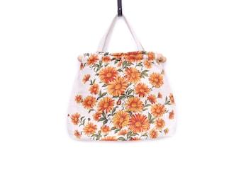 Vintage shopper handbag, orange beige green flower pattern linen fabric, big tote bag wood top handles, 1970s women's fashion accessory gift