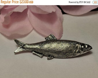 Big Sale Vintage Estate Silver Life Like Fish Trout Salmon Figural Animal Nautical Fishing Pin Brooch
