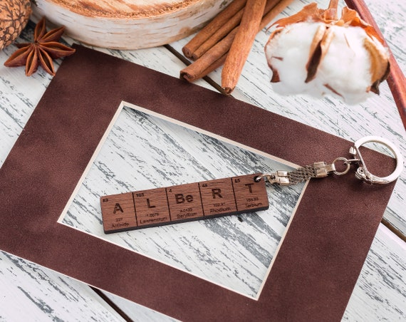 Periodic table name keychain gifts for him gifts for her urtaz Gallery