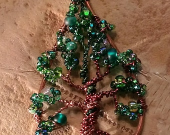 Tree-of-Life Wire & Bead Teardrop Pendant