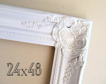 LARGE PICTURE FRAME 24x48 Photo Prop Restaurant Menu Frame French Provincial Decor Wall Picture Frame Photography Prop Restaurant Wall Decor