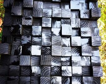 Wooden block wall sculpture