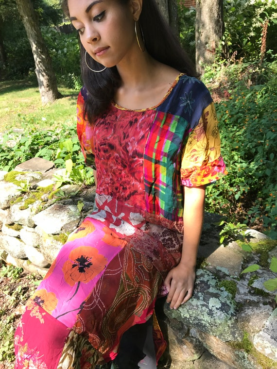 PATCHWORK tunic dress / Asian inspired dress /sheer gauzy rayon / lined / s, m