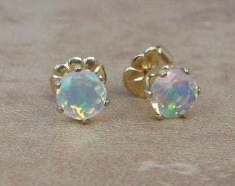 Opal Stud Earrings, Welo Opal, Ethiopian Opal Earrings, 14K Gold Filled, 5mm Faceted Opal, October Birthstone, Natural Opal Gemstones