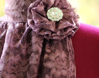 Jabot in Plum Lace - Victorian Fashion Collar
