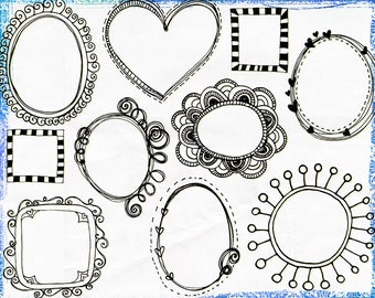 Digital Clip Art Borders, Doodle Frames, Adorable Whimsical Circles, Commercial Use Labels, PNG & Photoshop Brush,  Invitation DIY