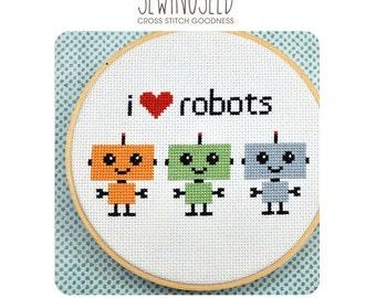 Robot Cross Stitch Pattern, I Love Robots Instant Download