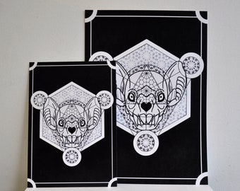 Geometric Digital Art Print Bat Head Skull Goth A3 or A4