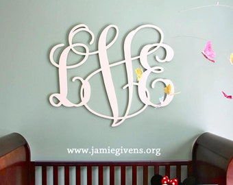 "Up to 48"" Large Wood Monogram, 3/4"" depth, PAINTED with all hanging hardware attached and included.  Large custom painted wood letters."