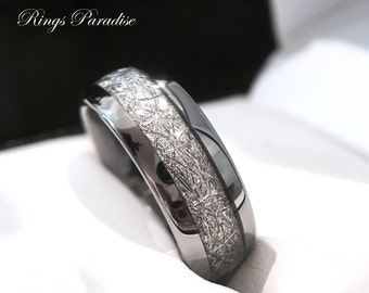 Tungsten Wedding Band, His and Her Promise Ring, Imitated Meteorite Inlay Ring, Tungsten Rings, Men's Tungsten Rings, Women's Wedding Bands
