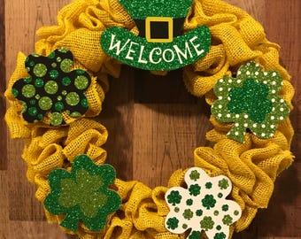 St. Patrick's Day wreath, shamrock wreath, four leaf clover, irish, luck, gold, rainbows, pot of gold, leprechaun, saint patty's day, march