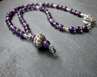 Amethyst Necklace/Sterling Silver Necklace/February Birthstone/ Turkish Silver/18 inch necklace