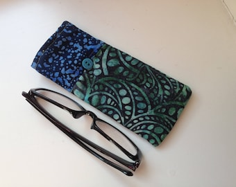Reading Glasses Case -green and royal blue batik cottons, small, soft eyeglasses sleeve, readers cozy, nature, travel accessory for purse