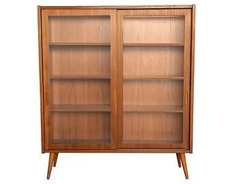 antique mahogany bookshelf bookcase empire with glass doors front