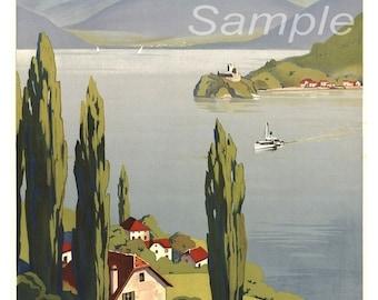 Vintage Lake Annecy Travel Poster Print