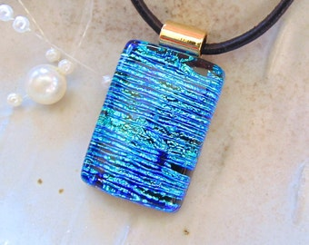 One of a kind dichroic jewelry and much more by myfusedglass blue necklace aqua dichroic glass pendant necklace fused glass jewelry necklace aloadofball Choice Image