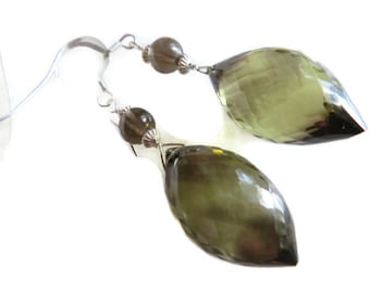 Smoky Lemon Quartz  Earrings, Lemon Quartz Earrings, Faceted Gem Earrings, Drop Earrings, Smoky Quartz Earrings, Sterling Silver Earrings