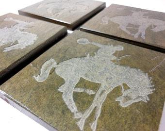 Cowboy Coasters Set - 4 Handmade Etched Stone Coasters, Quality Carved Slate Coasters, Southwestern Rodeo Decor, Novelty Drink Coaster Set