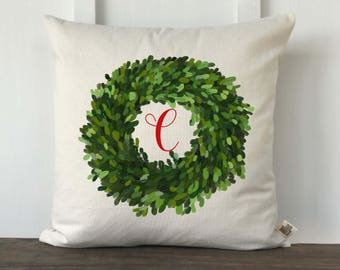 Farmhouse Christmas Pillow Cover, Personalized Christmas Pillow, Boxwood Christmas Pillow, Custom couch pillow,
