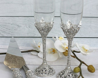 Swarovski Crystal Wedding toast Set, Champagne Glasses, Weeding Toasting flutes, Cake server Set, Cake Knife and Server Set