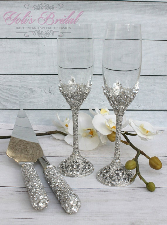 Swarovski Crystal Wedding Toast Set Champagne Gl Weeding Toasting Flutes Cake Server Knife And