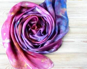 Purple short silk scarf -17x63in small chunky purple hair scarf - Neck Wrap - women scarves