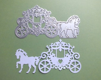 1 large Metal Cutting Die Horse and Carriage Cards Scrapbooks Wedding projects