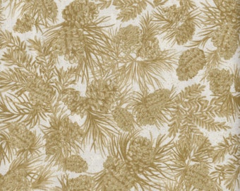 Chickadees and Berries - Per Yd - Benartex - Gold Pine Cones on Ecru