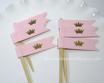 Royal Gold Crown Party Picks, PInk and Gold Little Princess Cupcake Toppers, 1st Happy Birthday Decorations, Gold embossed crown
