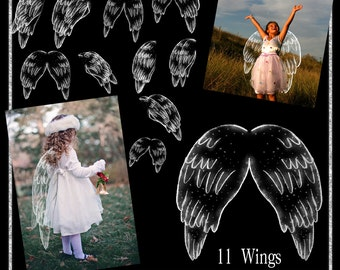 Angel Wings Overlays, Png Wings, Photo wings, Photo Tools, Transparent Png, Photography Overlay, Hand drawn Wings, Instant Download