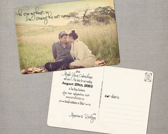 """Save the date unique, Photo Save the Date cards, 4x6, Save the Date Postcards, the """"Marissa 4"""""""