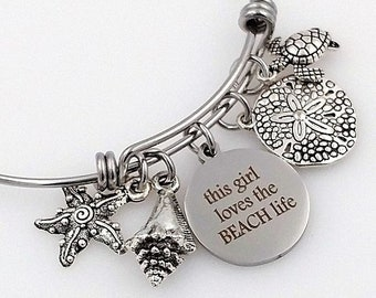 Beach Life Bangle Bracelet, Shell, Starfish, Turtle, Sand Dollar