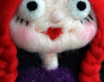 Valentines Ornament - Needle Felted Girl - Needle Felted Heart - Love Ornament