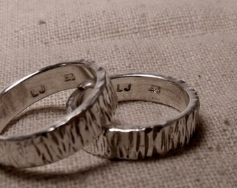 6mm Matching Textured bands in Sterling Silver RF596