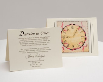 Linen Paper Stationery Note Cards, set of 8  - Detection In Time: Breast Cancer Awareness