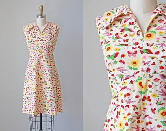 60s Dress - Vintage 1960s Dress - Mod Insect Owl Novelty Print Cotton Sundress Size L