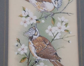 Vintage 1960's Cashs Woven Picture Crested Tits Mouse, fine silk