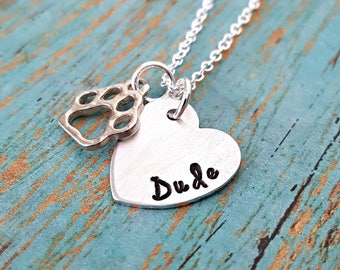 Pet Lover - Dog Lover - Cat Lover - Personalized Pet Necklace - Paw - Pet Memorial Jewelry - Pet Loss - Loss of Pet - Fur Baby - Dog Mom