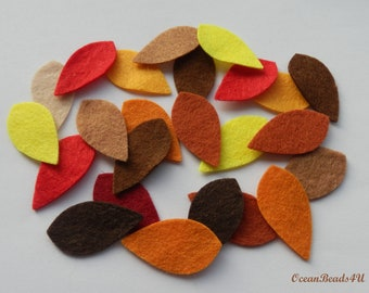 Mix Autumn Felt Leaves , Felt leaves, felt shapes, felt appliques, filz blätter