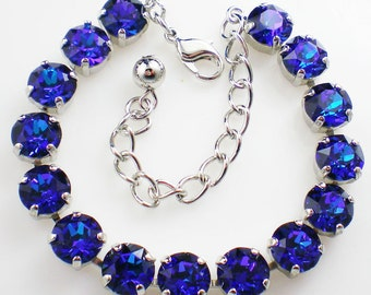 Violet Blue Rhinestone Bracelet  Heliotrope Wedding Jewelry Bridesmaid Jewelry MADE TO ORDER