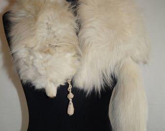 Vintage Arctic Fox Shawl with satin liner