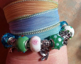Beautiful Silk Wrap Bracelet-Hurry Up Spring