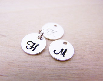 Add a Small 9mm Hand Stamped Sterling Silver Initial Charm - Script Font - Alphabet Initial Disc - Personalized Letter - Add a Charm