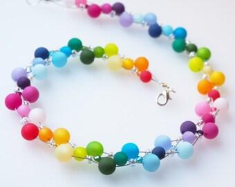rainbow necklace colorful necklace polaris necklace swarovski necklace
