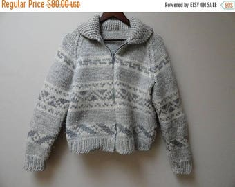 SALE Handknit Cowichan Sweater - Authentic - Vintage - Grey and cream - S M