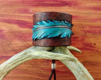 SOLD!! Leather Tooled Feather Cuff