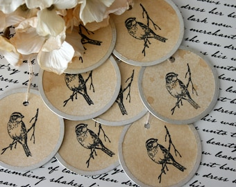 Bird Gift Tags, 2 inch metal rimmed tags, Vintage Style Coffee Stained gift tags
